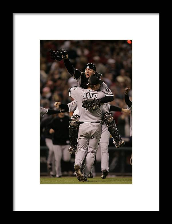 Celebration Framed Print featuring the photograph A. J. Pierzynski by Rich Pilling