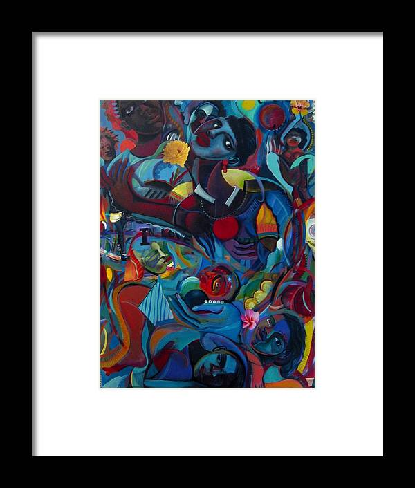 Figures Framed Print featuring the painting A Love Puzzle by Joyce Owens
