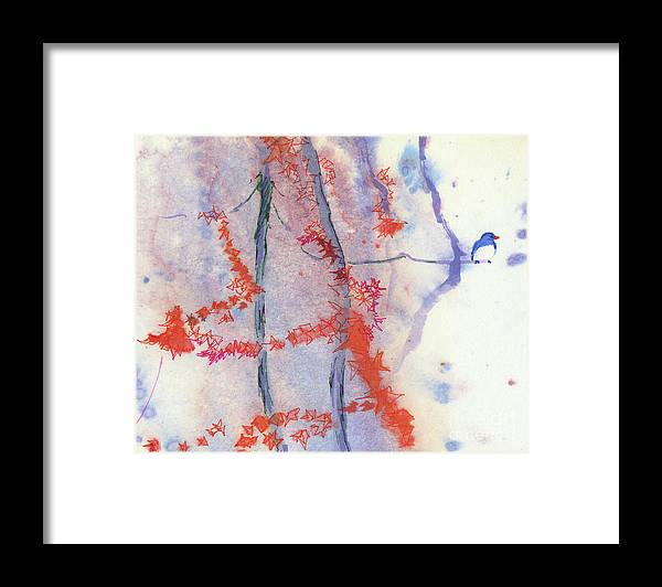 A Bird Perching Framed Print featuring the painting A Melody of Autumn by Mui-Joo Wee