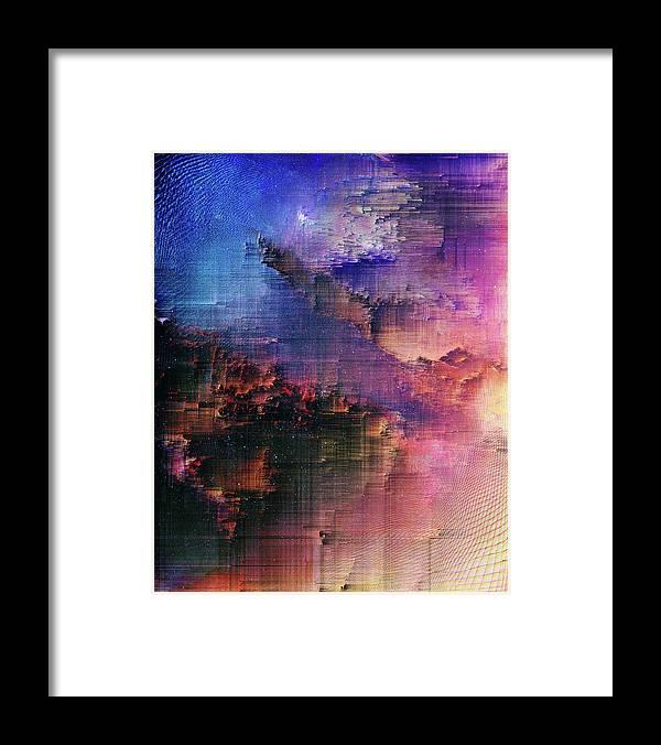 Framed Print featuring the digital art A night of splintering colour by Jenny Filipetti