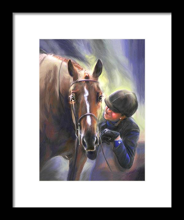 Horse Framed Print featuring the painting A Secret Shared Hunter Horse With Girl by Connie Moses