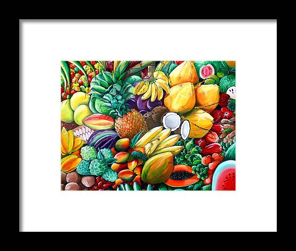 Caribbean Fruit Painting Tropical Fruit Painting Caribbean Pineapple Mangoes Bananas Coconut Watermelon Tropical Fruit Painting Framed Print featuring the painting A Taste Of The Islands by Karin Dawn Kelshall- Best