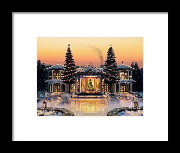 Christmas Framed Print featuring the painting A Warm Home For The Holidays by Stu Shepherd