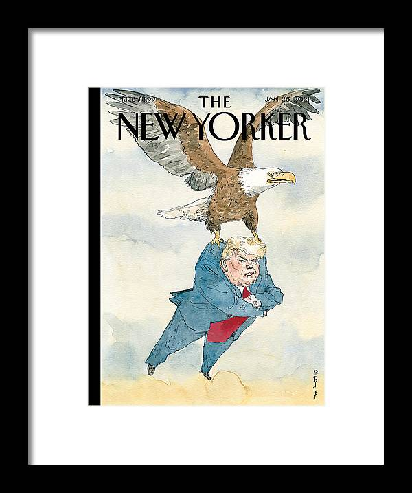 America Framed Print featuring the painting A Weight Lifted by Barry Blitt