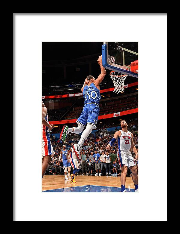Nba Pro Basketball Framed Print featuring the photograph Aaron Gordon by Gary Bassing