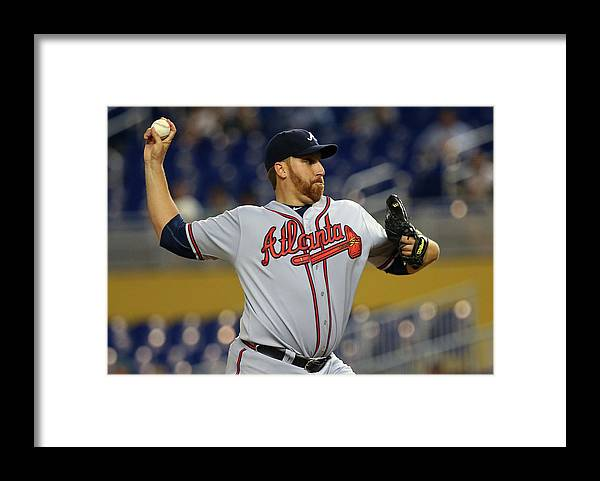 American League Baseball Framed Print featuring the photograph Aaron Harang by Mike Ehrmann