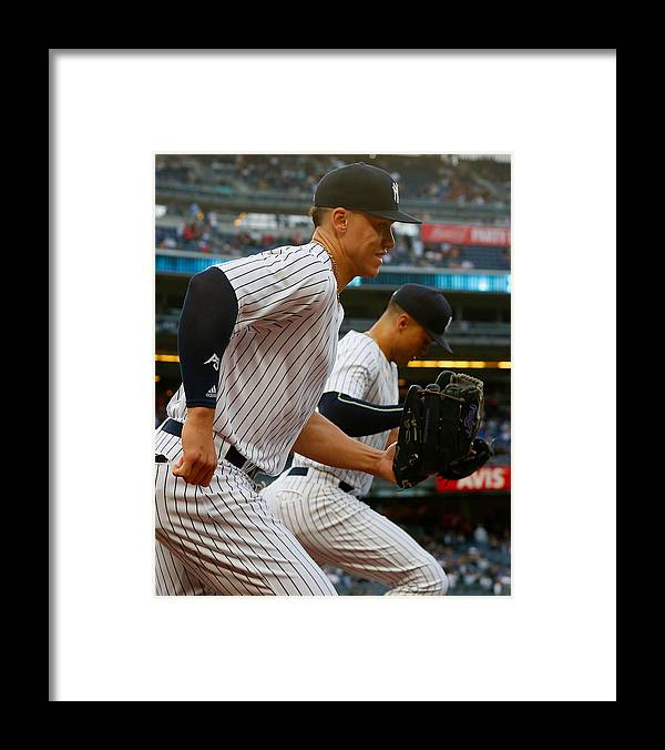 Three Quarter Length Framed Print featuring the photograph Aaron Judge and Giancarlo Stanton by Jim McIsaac