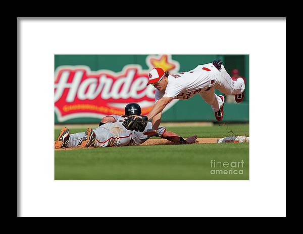 St. Louis Framed Print featuring the photograph Aaron Rowand and Ryan Theriot by Dilip Vishwanat