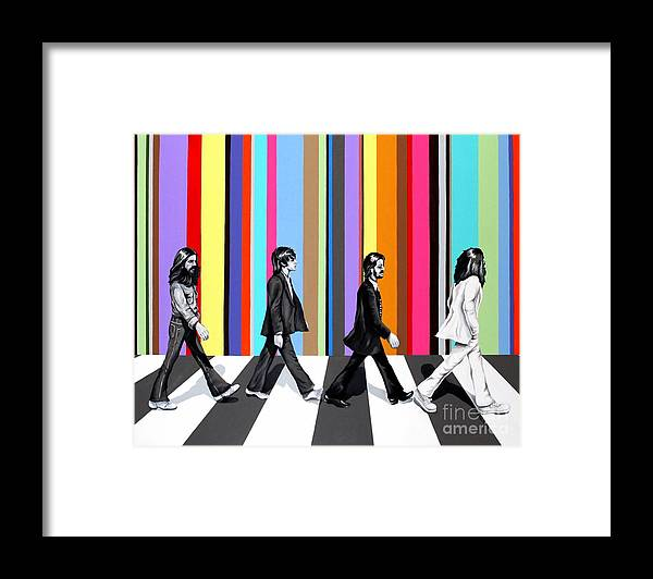 The Beatles Framed Print featuring the painting Abbey Road Technicolor by Amy Belonio