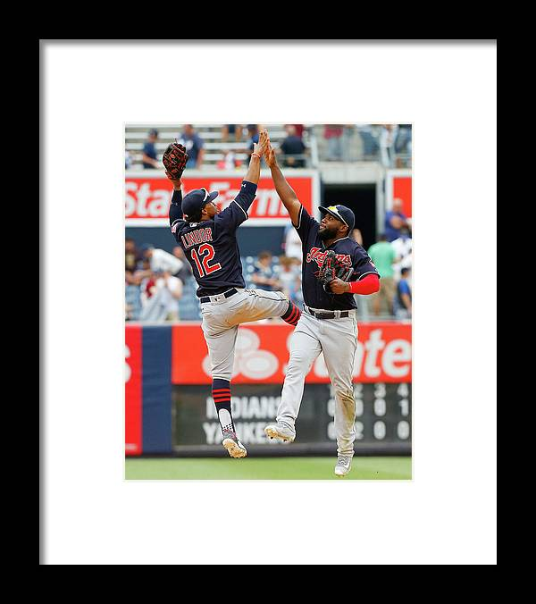People Framed Print featuring the photograph Abraham Almonte and Francisco Lindor by Jim Mcisaac