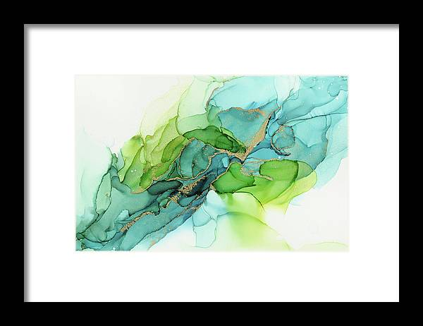 Watercolor Framed Print featuring the painting Abstract Ink Blue Gold Green by Olga Shvartsur