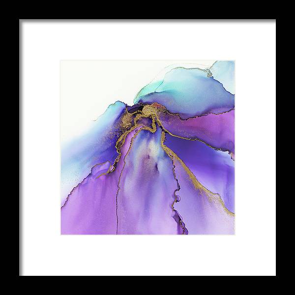 Ink Framed Print featuring the painting Abstract Iris Gold Leaf by Olga Shvartsur