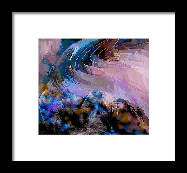 Modern Abstract Art Framed Print featuring the mixed media Abstract Island Girl Slumbering On The Beach by Joan Stratton