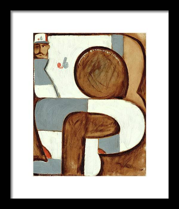 Expos Framed Print featuring the painting Abstract Montreal Expos Baseball Player Art Print by Tommervik