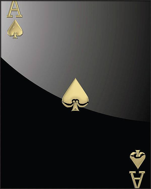 Ace of Spades in Gold on Black   by Serge Averbukh