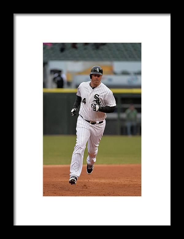 American League Baseball Framed Print featuring the photograph Adam Dunn by Brian Kersey