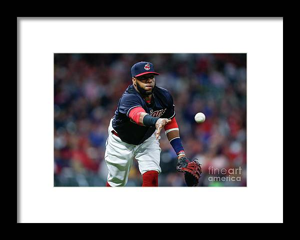 Three Quarter Length Framed Print featuring the photograph Adam Engel and Carlos Santana by Ron Schwane