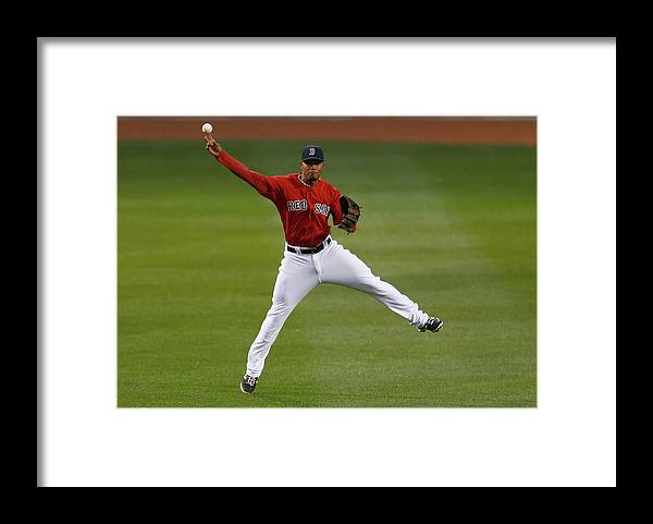 American League Baseball Framed Print featuring the photograph Adam Jones and Xander Bogaerts by Jim Rogash