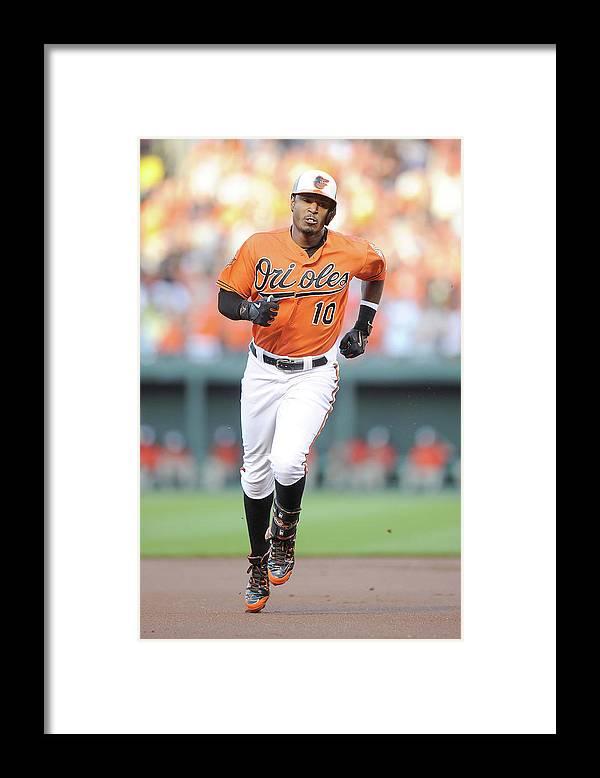 American League Baseball Framed Print featuring the photograph Adam Jones by Greg Fiume