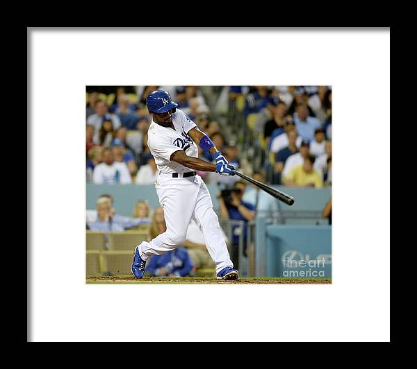 People Framed Print featuring the photograph Adam Morgan and Jimmy Rollins by Kevork Djansezian