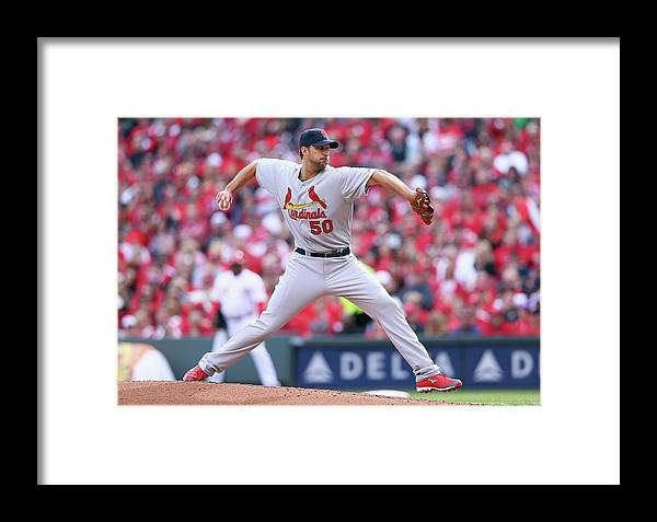 Great American Ball Park Framed Print featuring the photograph Adam Wainwright by Andy Lyons