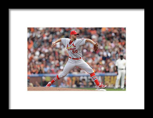 St. Louis Cardinals Framed Print featuring the photograph Adam Wainwright by Ezra Shaw