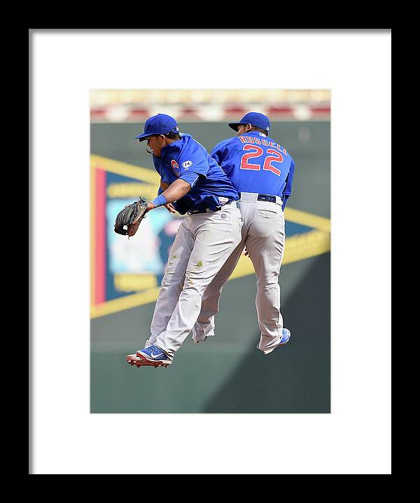People Framed Print featuring the photograph Addison Russell and Starlin Castro by Hannah Foslien