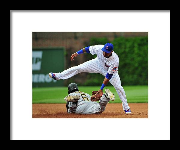 People Framed Print featuring the photograph Addison Russell and Starling Marte by David Banks