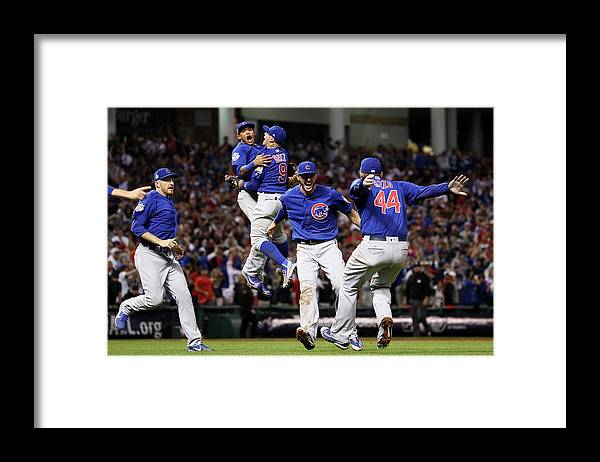 People Framed Print featuring the photograph Addison Russell, Kris Bryant, and Javier Baez by Ezra Shaw
