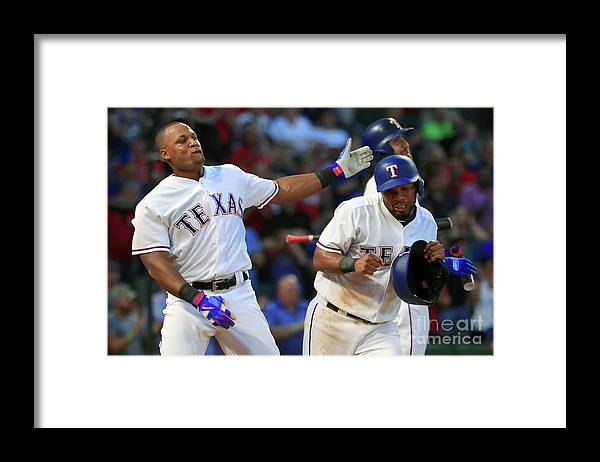 Headwear Framed Print featuring the photograph Adrian Beltre and Elvis Andrus by Tom Pennington