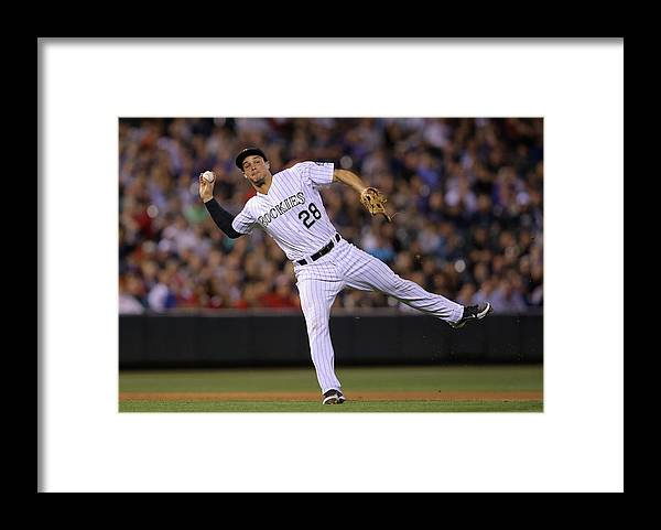 Adrian Beltre Framed Print featuring the photograph Adrian Beltre and Nolan Arenado by Doug Pensinger