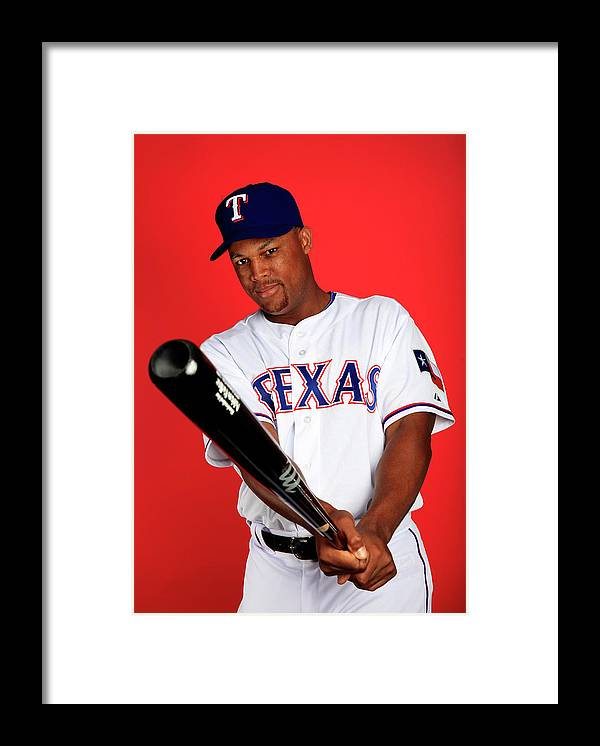 Media Day Framed Print featuring the photograph Adrian Beltre by Jamie Squire