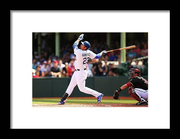 Los Angeles Dodgers Framed Print featuring the photograph Adrian Gonzalez by Brendon Thorne
