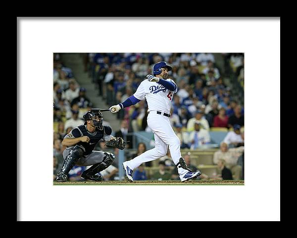 Second Inning Framed Print featuring the photograph Adrian Gonzalez by Stephen Dunn