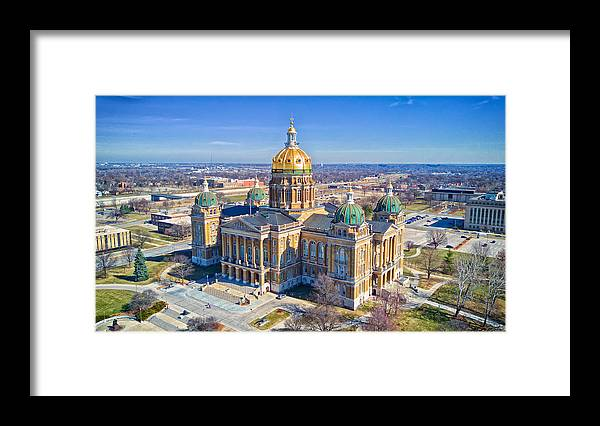 Built Structure Framed Print featuring the photograph Aerial Of Iowa Capital March 4 2017 by Monte Goodyk