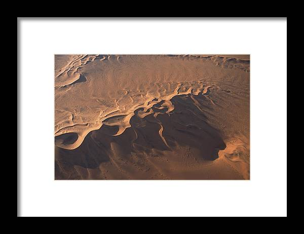 Shadow Framed Print featuring the photograph Aerial view of Namib Desert , Namibia , Africa by Comstock Images