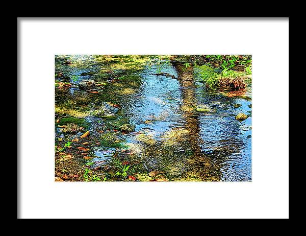 Reflections Framed Print featuring the photograph After Monet or Reflections in the Stream by Kirsten Giving