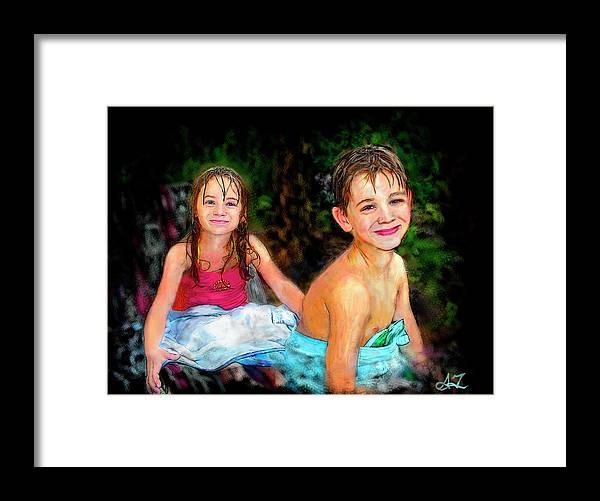 Portrait Framed Print featuring the digital art After- Swim by Arthur Fix