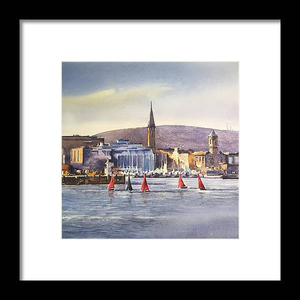 Dun Laoghaire Framed Print featuring the painting Afternoon at Dun Laoghaire by Roland Byrne