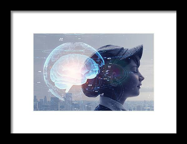 Internet Framed Print featuring the photograph AI (Artificial Intelligence) concept. Education concept. by Metamorworks