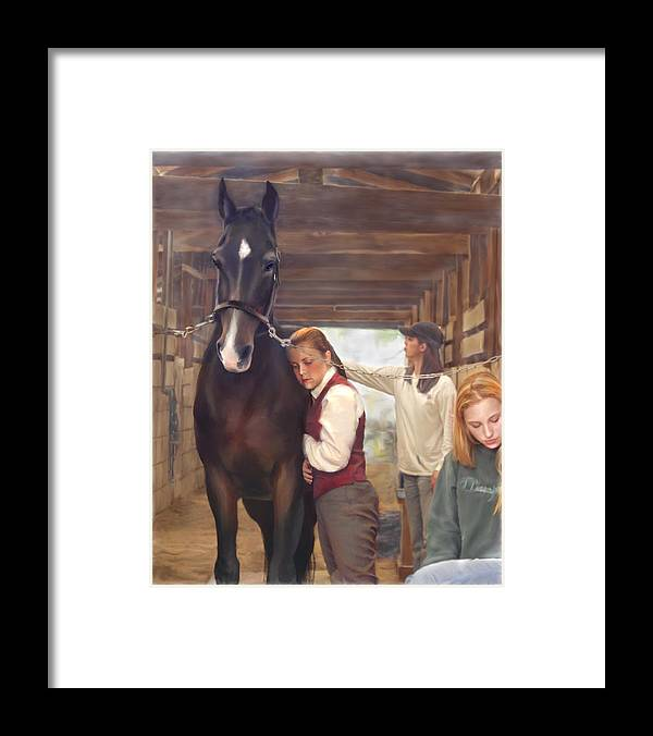 Horse Framed Print featuring the painting Aisle Hug Horse Show Barn Candid Moment by Connie Moses