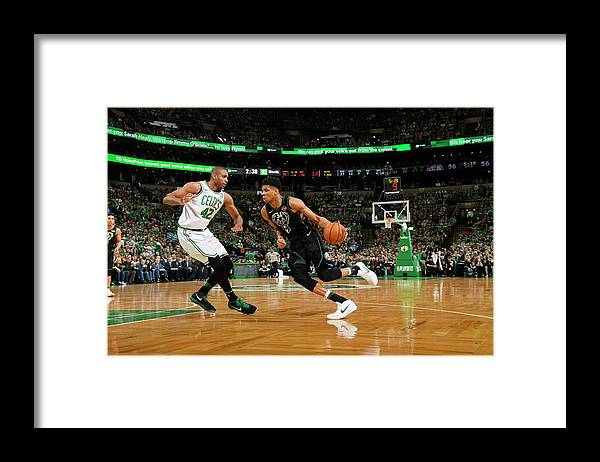 Playoffs Framed Print featuring the photograph Al Horford and Giannis Antetokounmpo by Brian Babineau