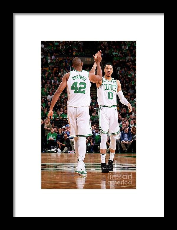 Playoffs Framed Print featuring the photograph Al Horford and Jayson Tatum by Brian Babineau
