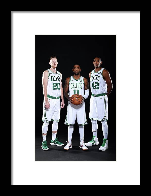 Media Day Framed Print featuring the photograph Al Horford, Kyrie Irving, and Gordon Hayward by Brian Babineau