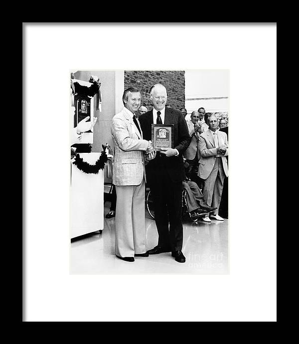 1980-1989 Framed Print featuring the photograph Al Kaline And Bowie Kuhn by National Baseball Hall Of Fame Library