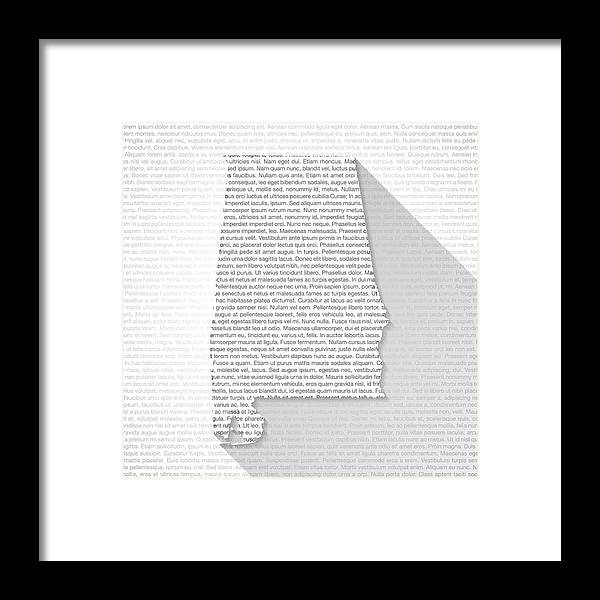 Long Framed Print featuring the drawing Alabama Map on Text Background - Long Shadow by Bgblue