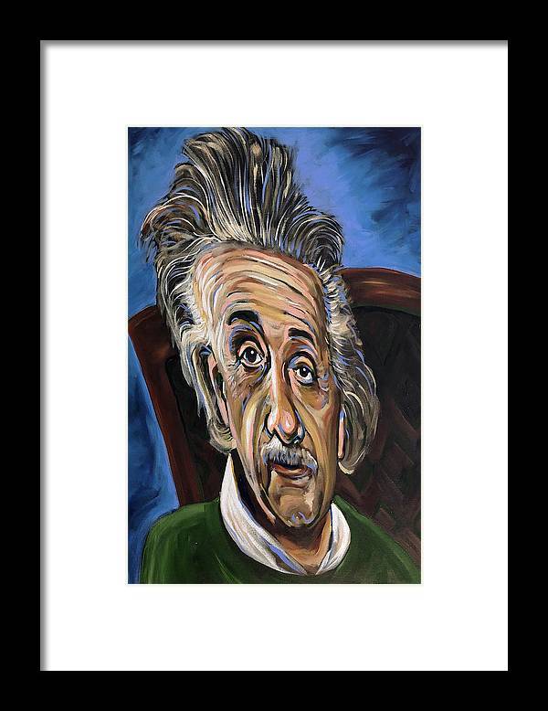 Albert Framed Print featuring the painting Albert Einstein by Buffalo Bonker