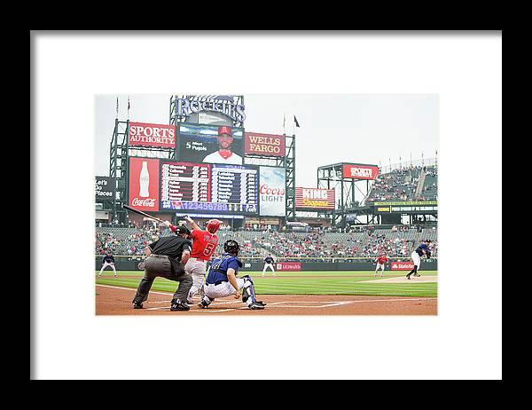 People Framed Print featuring the photograph Albert Pujols and Chad Bettis by Dustin Bradford