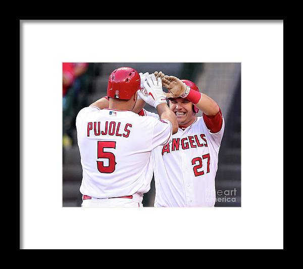 People Framed Print featuring the photograph Albert Pujols and Mike Trout by Harry How
