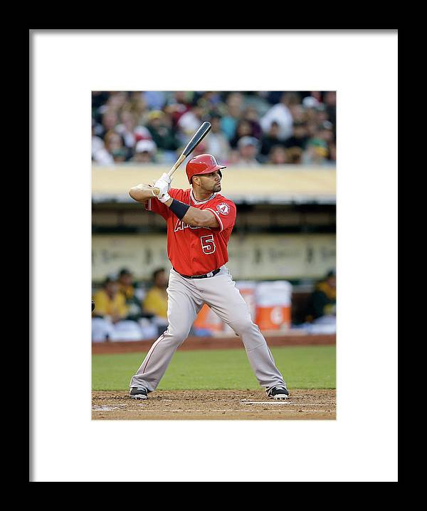American League Baseball Framed Print featuring the photograph Albert Pujols by Ezra Shaw